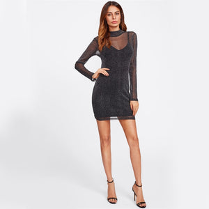 NIGHTS OUT SHINY MESH MINI DRESS