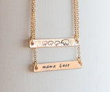 Mama bear necklace, mama and bear cub necklace, hand stamped bar necklace Mother's Day gift
