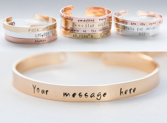 Personalized stamped cuff bracelet, hand stamped message quote anniversary date jewelry gift