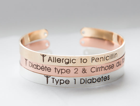 Stylish Medical Alert Bracelet Medical ID Diabetes Allergy Bracelet Gift For Women Personalized Cuff