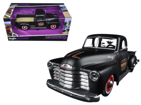 "1950 Chevrolet 3100 Pickup Truck Matt Black \Outlaws"" 1/25 Diecast Model Car by Maisto"""