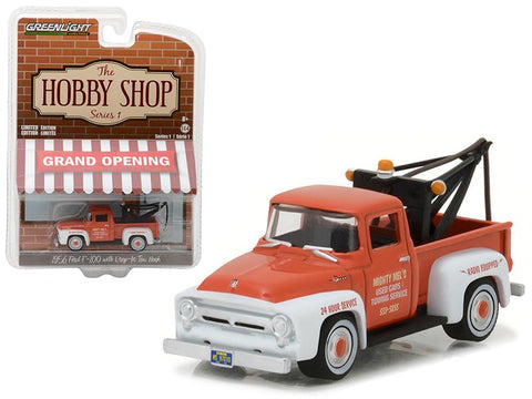 "1956 Ford F-100 Red and White with Drop-in Tow Hook \The Hobby Shop"" Series 1 1/64 Diecast Model Car by Greenlight"""