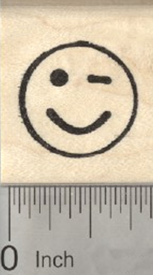 Winking Emoji Rubber Stamp, .75 inch Face