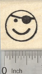 Pirate Emoji Rubber Stamp, with Eye Patch, .75 inch Size