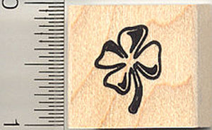 Small Shamrock, Four Leaf Clover Rubber Stamp