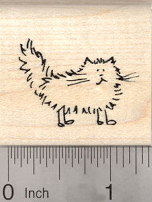 Longhaired Cat Rubber Stamp, Stick Figure Series