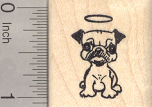 Pug Angel Rubber Stamp, Dog Angel with Halo