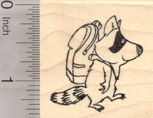 Back to School Raccoon Rubber Stamp, Racoon in Backpack
