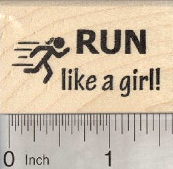 Run like a girl Rubber Stamp, with Stick Figure