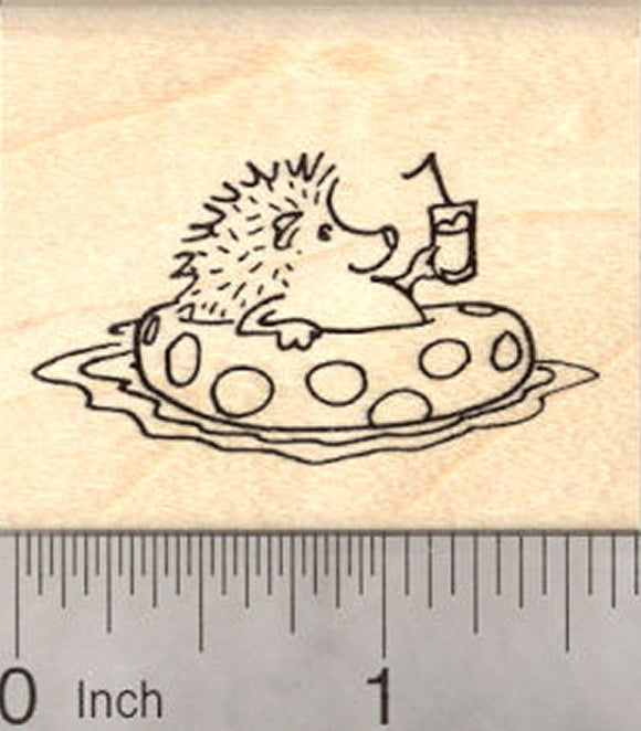 Hedgehog in Swimming Pool Rubber Stamp, with Drink and Bendy Straw