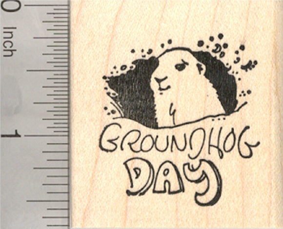 Groundhog Day Rubber Stamp