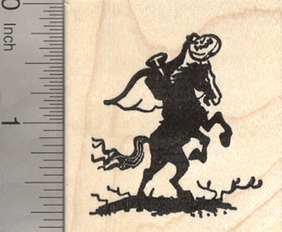 Headless Horseman Halloween Rubber Stamp, Rider with Pumpkin Head
