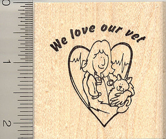 We Love Our Vet Rubber Stamp
