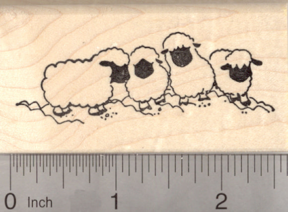 Valais Blacknose Sheep Rubber Stamp