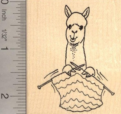 Alpaca knitting Yarn Rubber Stamp