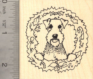 Airedale Terrier Dog in Christmas Wreath Rubber Stamp