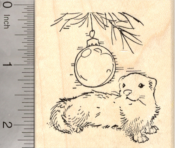 Christmas Ferret Rubber Stamp, with Holiday Ornament