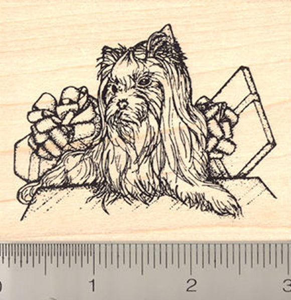 Yorkshire Terrier Dog Rubber Stamp, Christmas or Birthday Presents with Dog