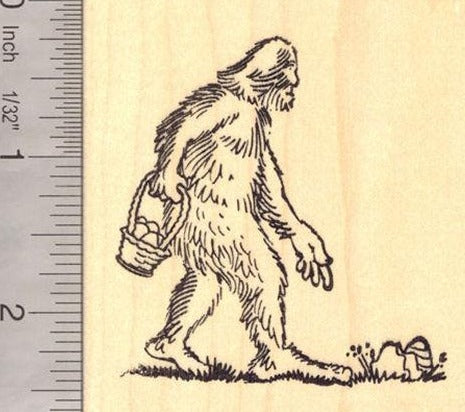 Easter Egg Hunt Big Foot Rubber Stamp, Sasquatch, Yeti, Folklore, Legend