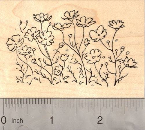 Flower Bed Rubber Stamp