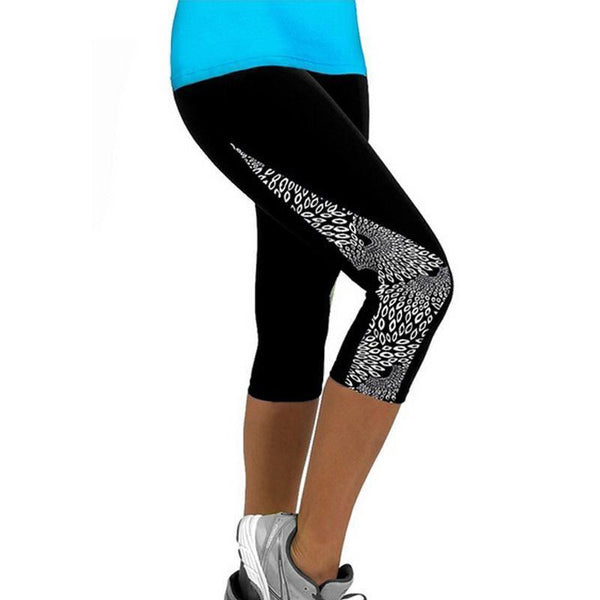 Capris Printed Black Leggings