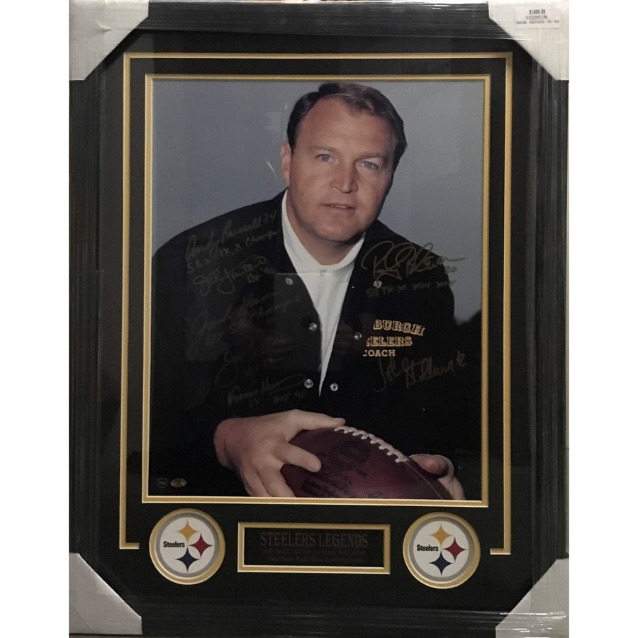 Chuck Noll 16x20 Photo Signed by Russell, Lambert, Stallworth, Ham, Greene, Harris, Bleier - Professionally Framed
