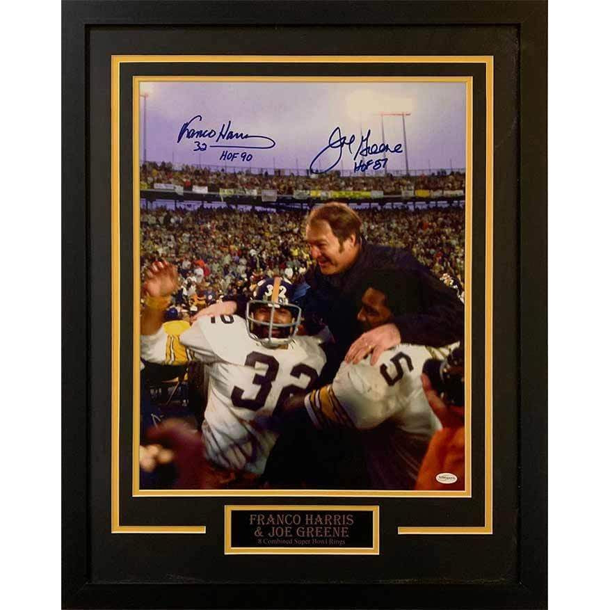 Franco Harris Celebrating Win with Joe Green Dual Signed with HOF Inscriptions 16x20- Professionally Framed