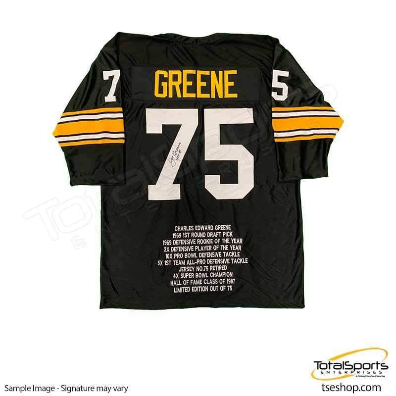 "Joe Greene Autographed Black Custom Short Sleeve STAT Jersey inscribed ""HOF 87"""