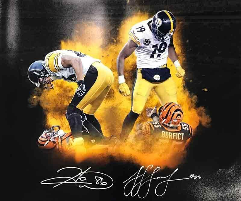 Signed STEELERS Photos JuJu Smith-Schuster and Hines Ward Dual Signed Over Bengals 16 x 20 Photo