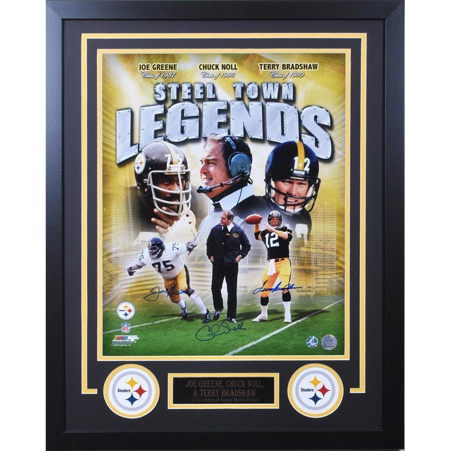 Terry Bradshaw, Chuck Noll and Joe Greene Triple Signed Steel Town Legends 16x20 - HOF Class of '87, '89 & '93 - Professionally Framed