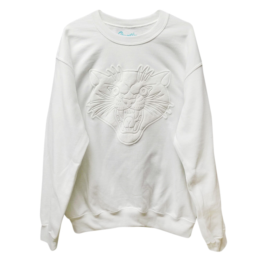 Puffy White Panther Crew Neck Sweater
