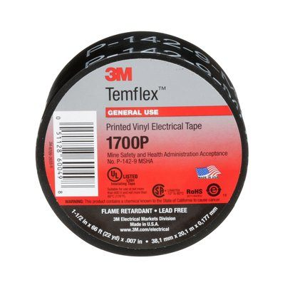 Electrical Tapes 3M 1700P-1-1/2X66 Temflex Vinyl Electrical Tape 1700P Printed Black 1-1/2 x  66' (38mm x 20 m)  MSHA Approved
