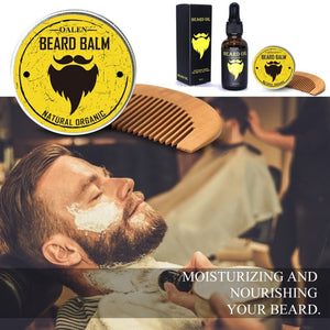 3Pcs Men Beard Care Kit Beard Balm + 30ml Beard Oil + Comb Male Hair Grooming Care Tools Moisturizing Nourishing Set