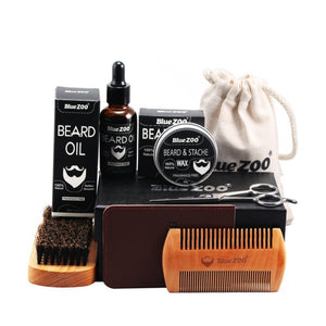 30g 30ml Men Beard Oil Kit Beard Oil Brush Comb Beard Cream Scissors Grooming Kit Beard Care Set