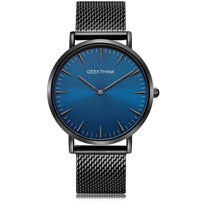 GEEKTHINK Top Luxury Brand Quartz watch mens Casual stainless steel Mesh strap ultra thin