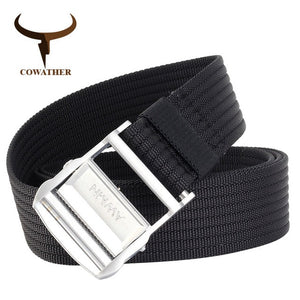 COWATHER casual mens belt nylon  fashion design buckle