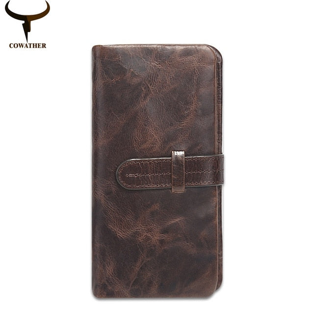 COWATHER 2019 New long style cow genuine leather mens wallets for men