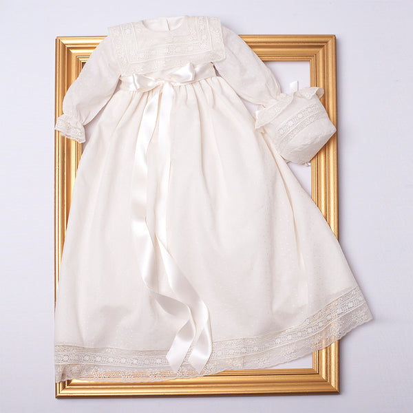 Traditional Christening Gown With Front Satin Sash and Bonnet - Made to order - PEPA AND CO
