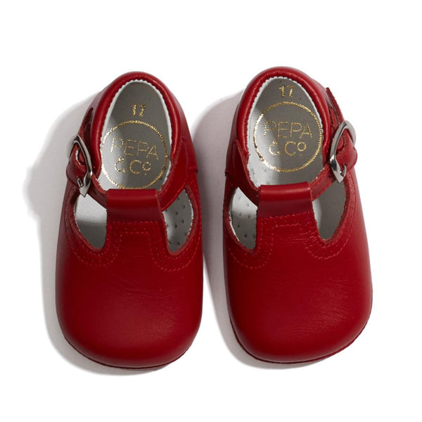 Leather T-bar Baby Pram Shoes Red - Shoes - PEPA AND CO
