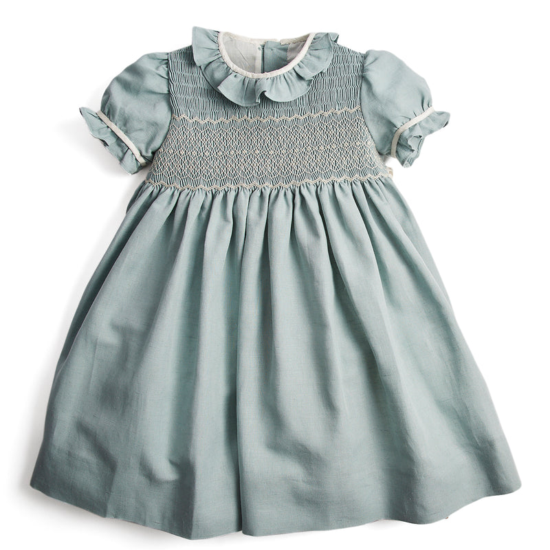 Flower girl's occasion dress in teal with ivory handsmock detail - Dress - PEPA AND CO