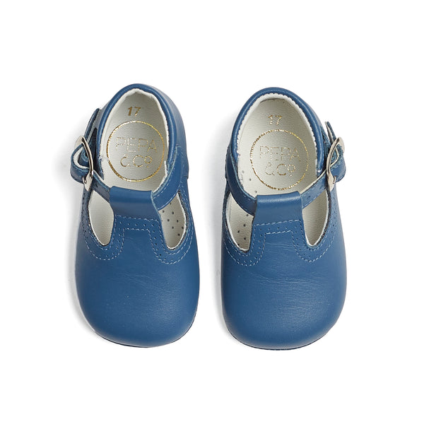 Leather T-bar Baby Pram Shoes French Blue - Shoes - PEPA AND CO