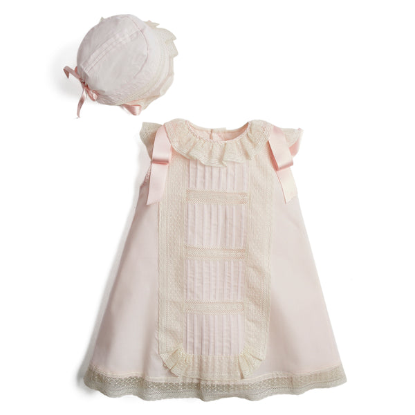 Organic Cotton Christening Dress and bonnet in Light Pink - Made to order - PEPA AND CO