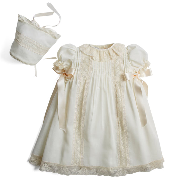 Organic Cotton Dress With Shoulder Ribbons and Bonnet. - Made to order - PEPA AND CO