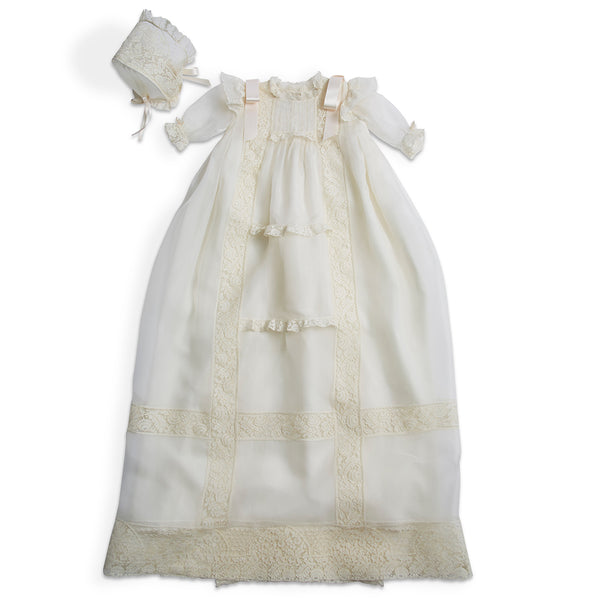 Organza Silk Christening Gown With Antique Lace and Bonnet - Made to order - PEPA AND CO