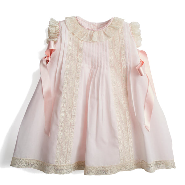 Organic Cotton Traditional Dress With Antique Lace in Pink - Made to order - PEPA AND CO
