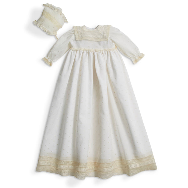 Embroidered Cotton Gown with antique lace panel and Bonnet. - Made to order - PEPA AND CO