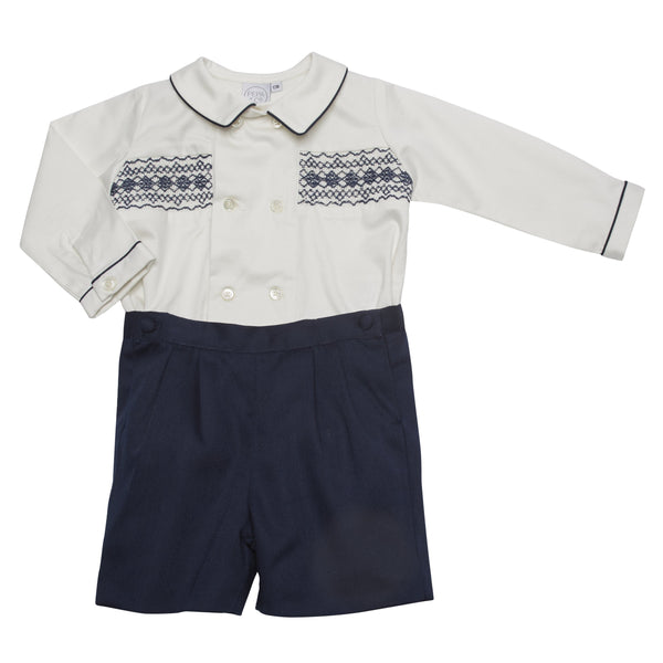Classic White and Navy Handsmocked Shirt and Shorts Set - Set - PEPA AND CO