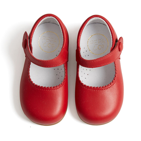 Leather Mary-Jane Baby Shoes Red - Shoes - PEPA AND CO