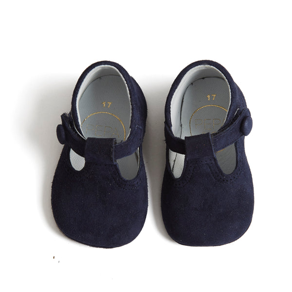 Suede T-bar Baby Pram Shoes Navy - Shoes - PEPA AND CO