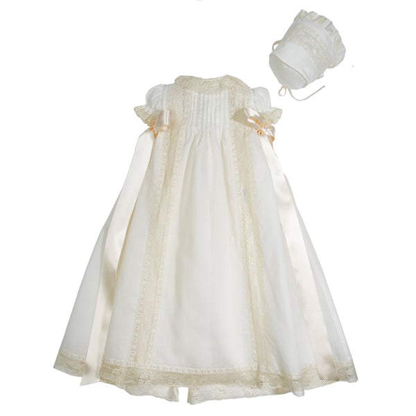 Christening Gown with side satin sash and Bonnet - Made to order - PEPA AND CO